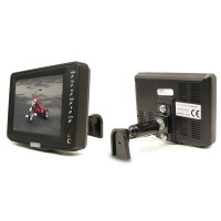 Rostra 250-8131 5-inch TFT LCD monitor with dual video inputs, remote control, and windshield mount